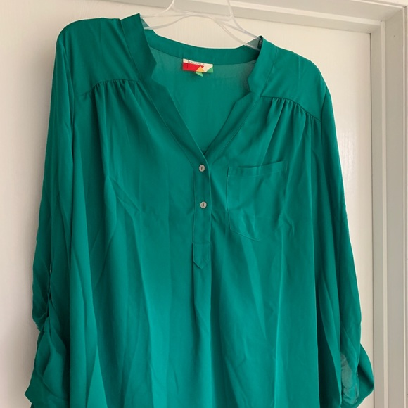 57e16befd09 Modcloth Tops | Kelly Green Tunic Blouse 1x | Poshmark